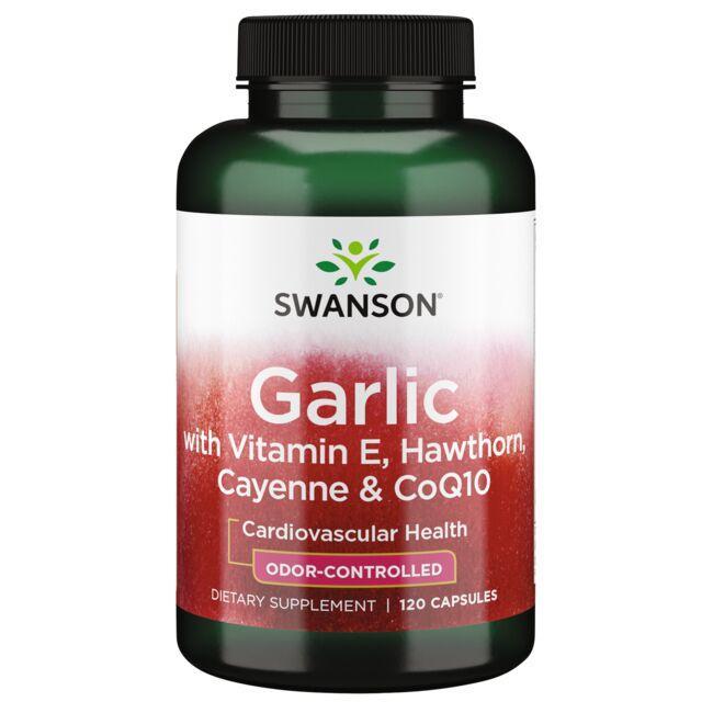 Swanson Best Garlic SupplementsGarlic with Vitamin E, Hawthorn, Cayenne & CoQ10 - Odor Controlled