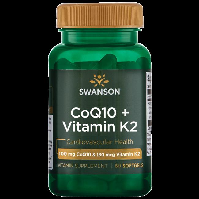 Swanson Coq10 + Vitamin K2 60 Softgels