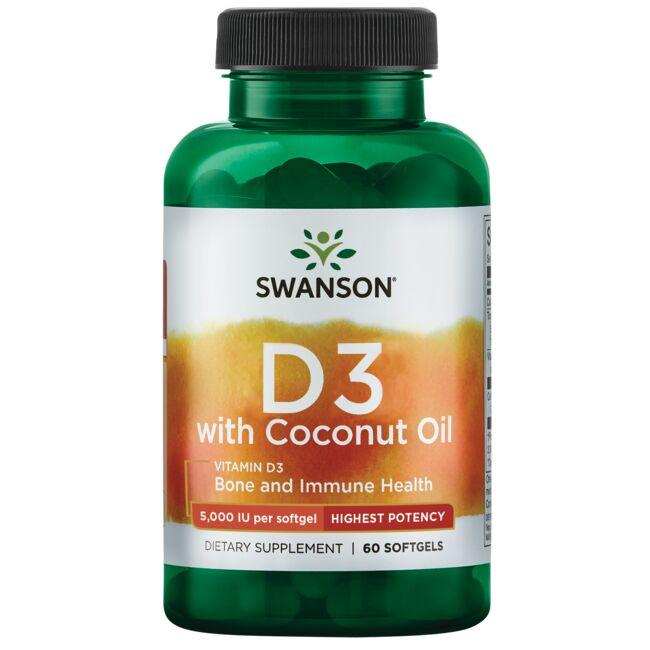 Swanson Ultra Vitamin D3 with Coconut Oil - Highest Potency
