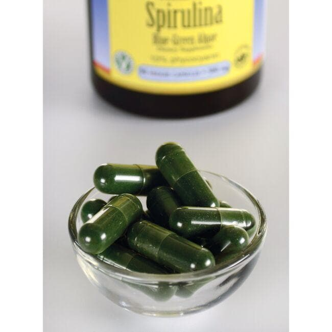 Swanson Ultra Std Spirulina Blue-Green Algae 10% Phycocyanin Close Up