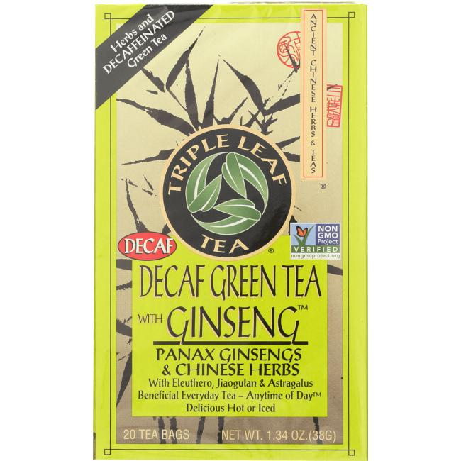 Triple Leaf Tea Decaf Green Tea With Ginseng