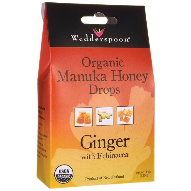 Wedderspoon Organic Manuka Honey Drops - Ginger with Echinacea